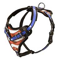 American Flag Painted Leather Riesenschnauzer Harness for Agitation Training
