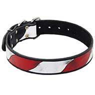 Riesenschnauzer Leather Collar With Handcrafted American Flag Painting