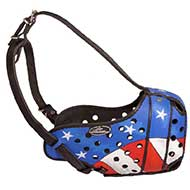 American Pride Painted Leather Riesenschnauzer Muzzle for Protection Training