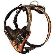 Handpainted in Flames Leather Riesenschnauzer Harness for Agitation Training