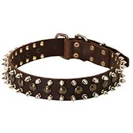 3 Rows Leather Spiked and Studded Riesenschnauzer Collar
