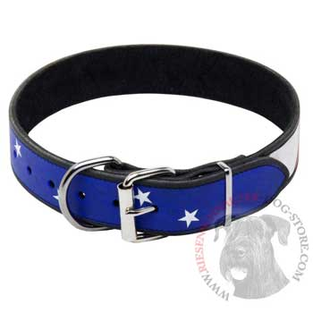 Riesenschnauzer Leather Collar With American  Flag Painting