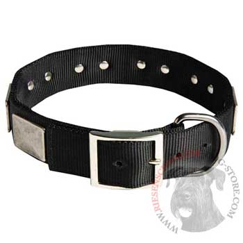 Designer Nylon Dog Collar Wide with Easy Release Buckle for   Riesenschnauzer