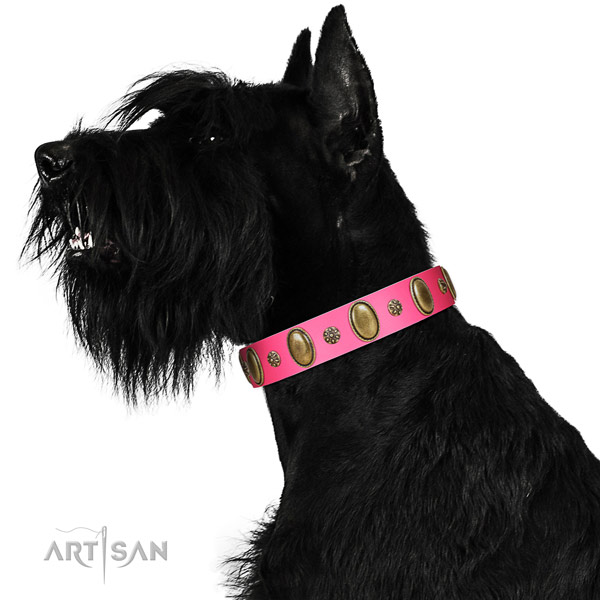 Durable full grain genuine leather dog collar with reliable hardware