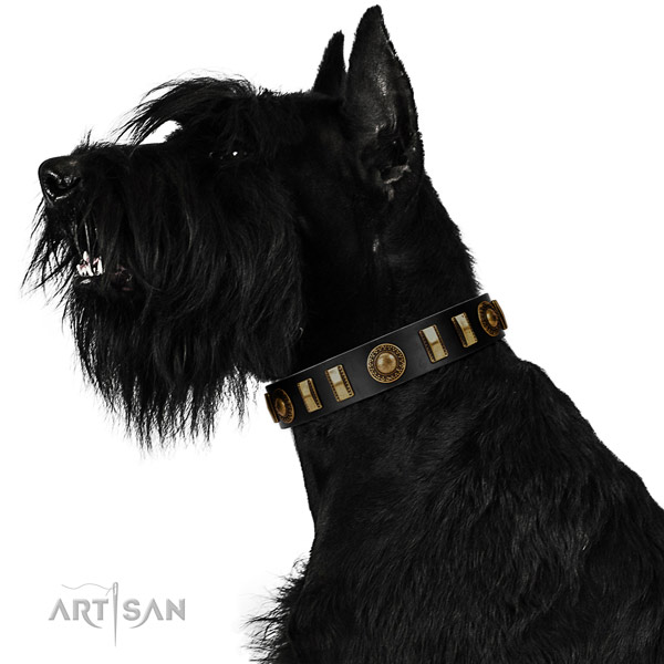 Soft to touch genuine leather dog collar with corrosion proof traditional buckle