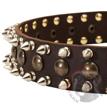 Riesenschnauzer Leather Collar with Hand Set Spikes  And Studs