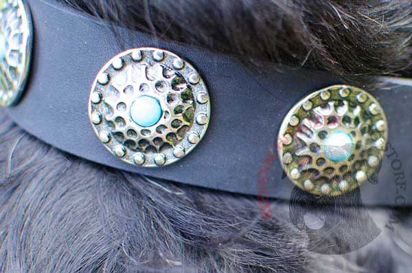 Nickel Round Circles and Blue Stones Serve for Riesenschnauzer Leather Collar Decoration