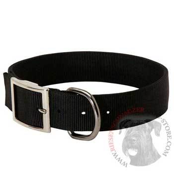 Nylon Riesenschnauzer Collar with Adjustable Steel Nickel Plated Buckle
