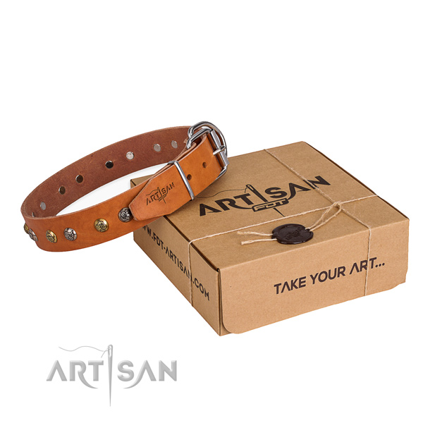 Gentle to touch natural genuine leather dog collar handmade for daily walking