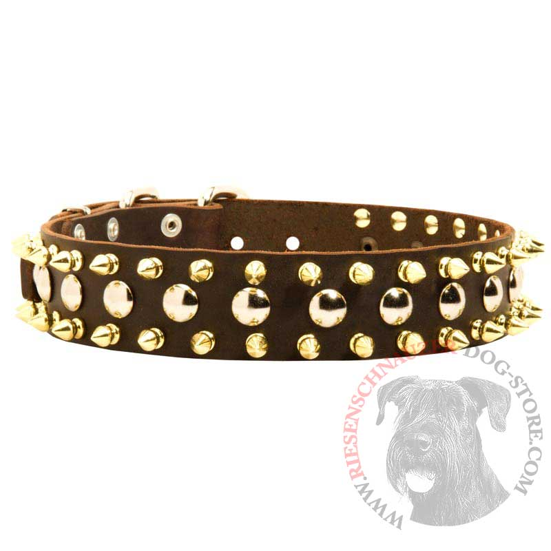 Spiked and Studded Riesenschnauzer Leather Collar