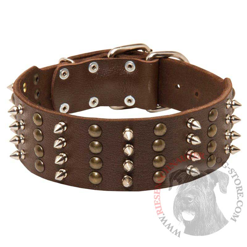 Extra Wide Leather Spiked and Studded Riesenschnauzer Collar