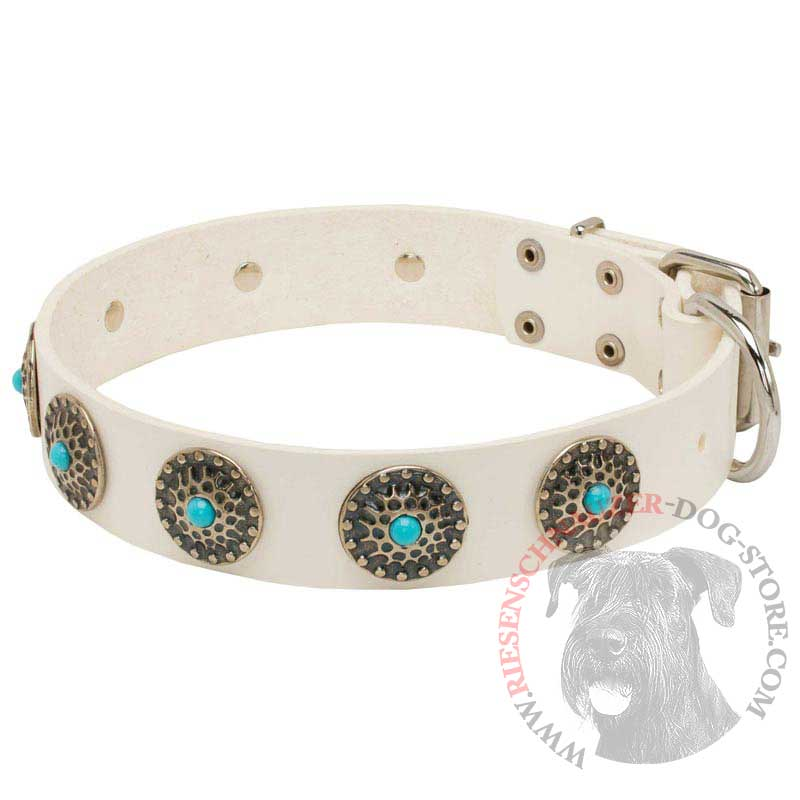 Exclusive White Leather Riesenschnauzer Collar with blue stones