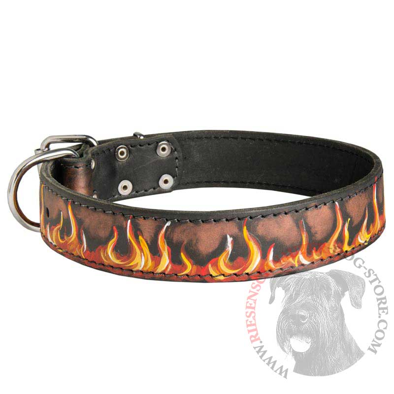 Handpainted Leather Riesenschnauzer Collar with Red Flames