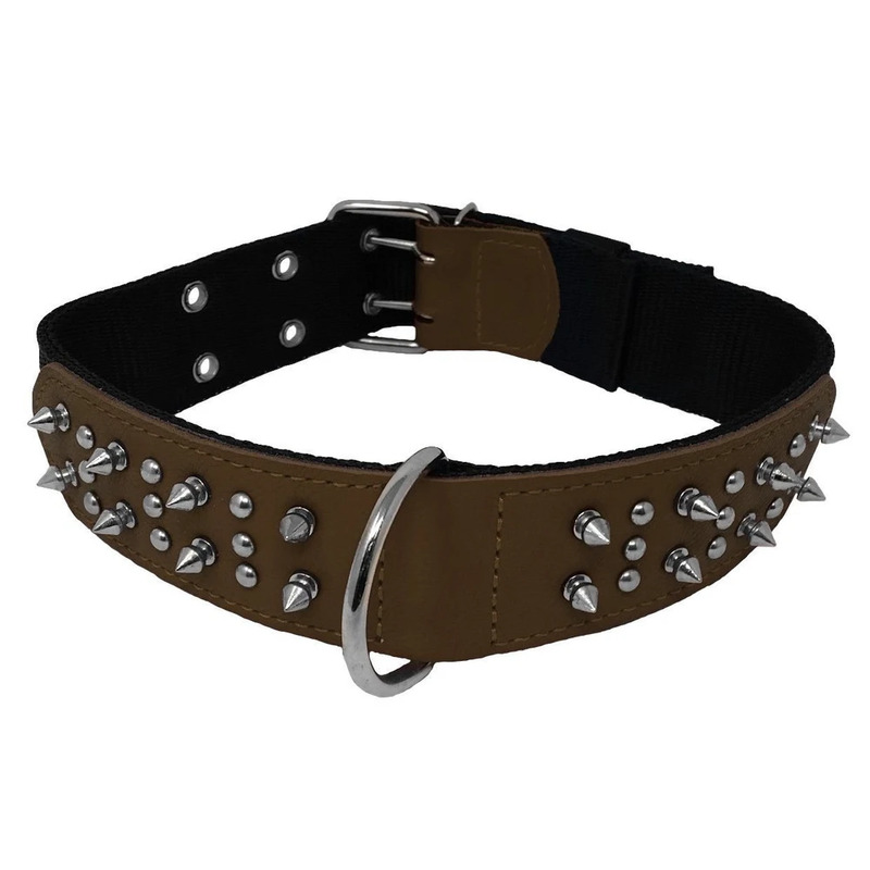 Leather/Nylon Collar With Spikes