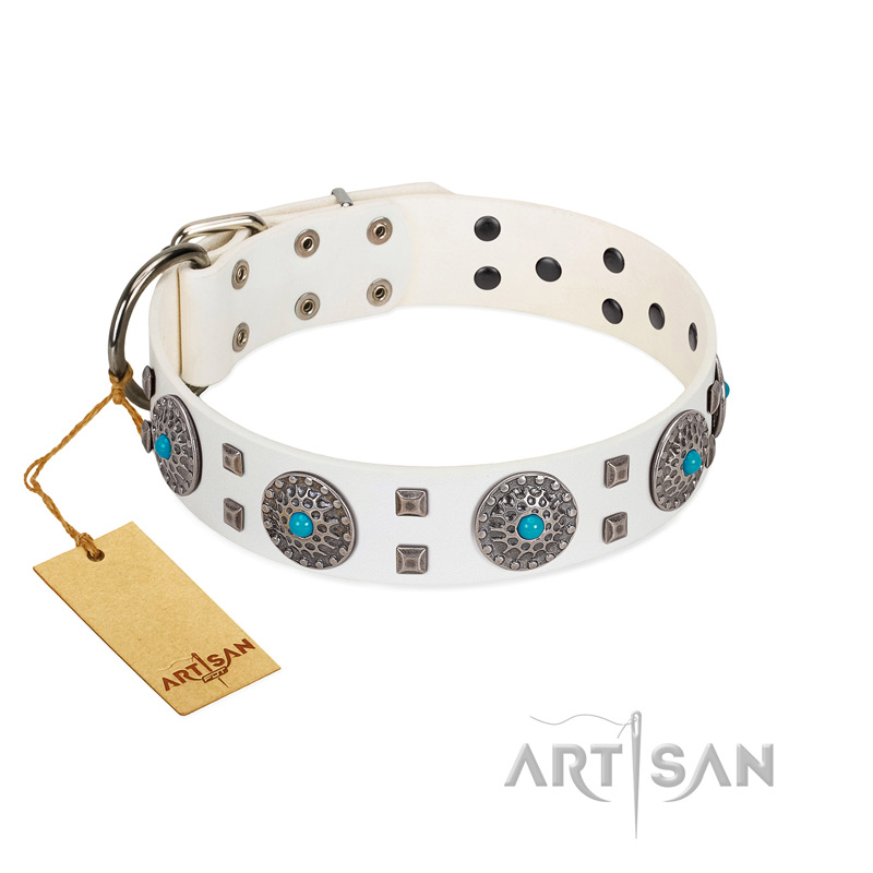 """Blue Sapphire"" Designer FDT Artisan White Leather Riesenschnauzer Collar with Round Plates and Square Studs"