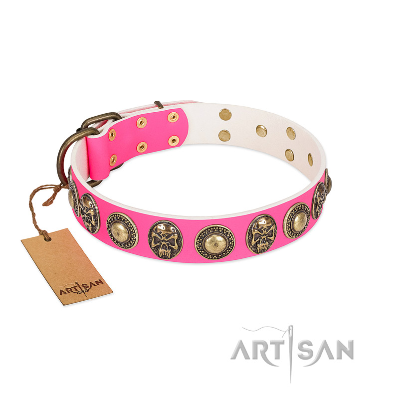 """Two Extremes"" FDT Artisan Pink Leather Riesenschnauzer Collar with Elegant Conchos and Medallions with Skulls"