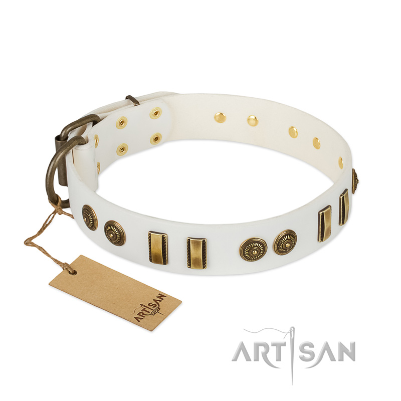 """Midsummer Snow"" FDT Artisan White Leather Riesenschnauzer Collar with Old Bronze-like Plates and Circles"