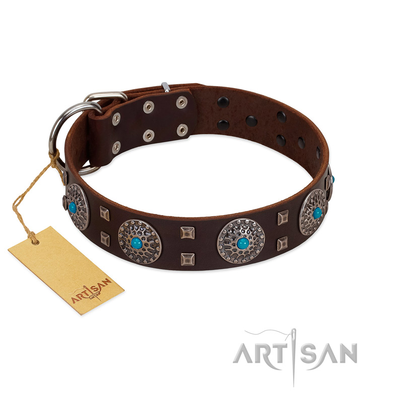 """Hypnotic Stones"" FDT Artisan Brown Leather Riesenschnauzer Collar with Chrome Plated Brooches and Square Studs"