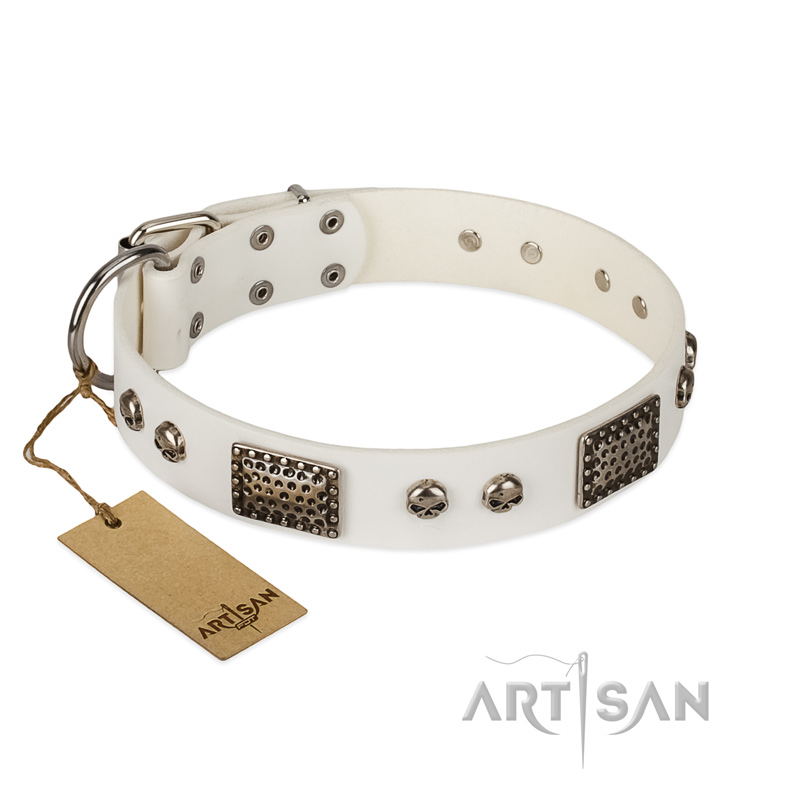 """Terrific Beauty"" FDT Artisan Beguiling White Leather Riesenschnauzer Collar"