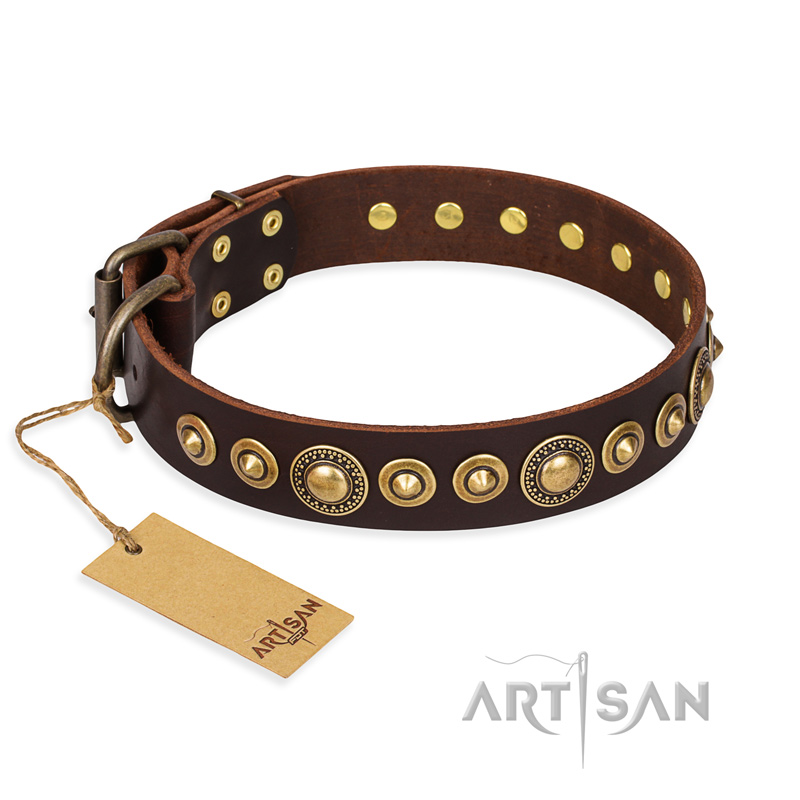 """Ancient Warrior"" FDT Artisan Fancy Leather Riesenschnauzer Collar with Old-Bronze Plated Decorations"