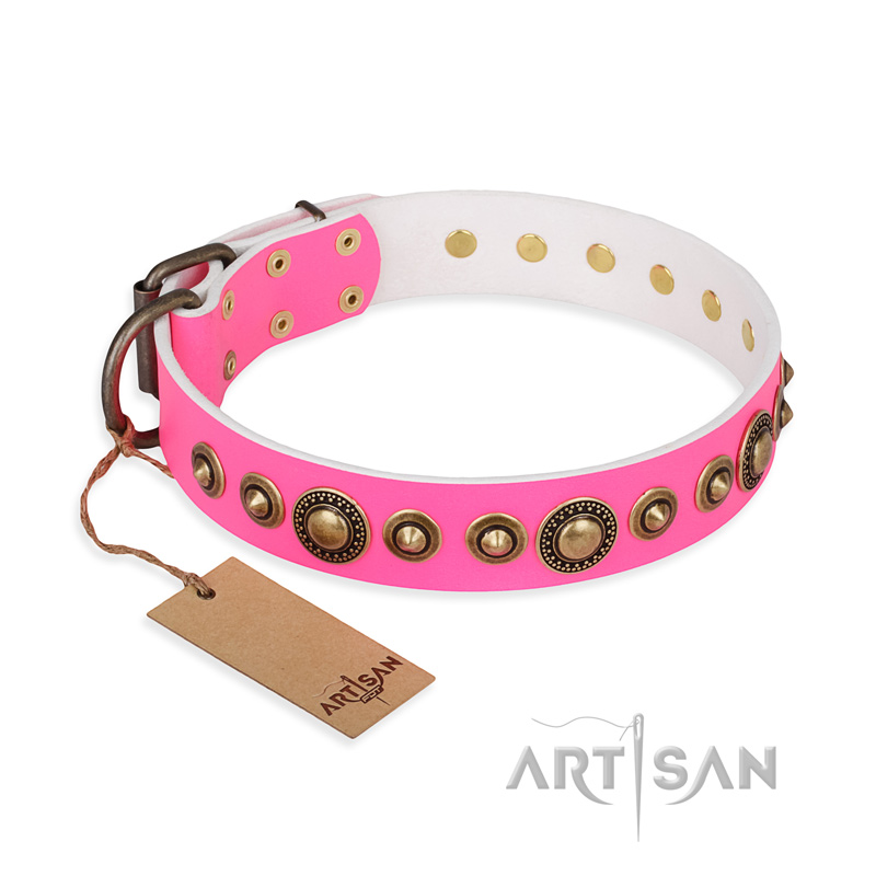 """Pink Gloss"" FDT Artisan Leather Riesenschnauzer Collar with Old-Bronze Plated Circles and Studs"