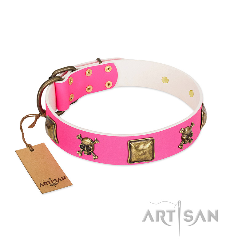 """Wild and Free"" FDT Artisan Pink Leather Riesenschnauzer Collar with Skulls and Crossbones Combined with Squares"