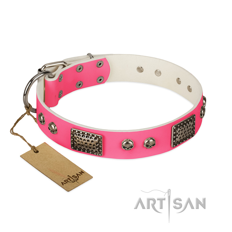 """Fashion Skulls"" FDT Artisan Pink Leather Riesenschnauzer Collar with Old Silver Look Plates and Skulls"