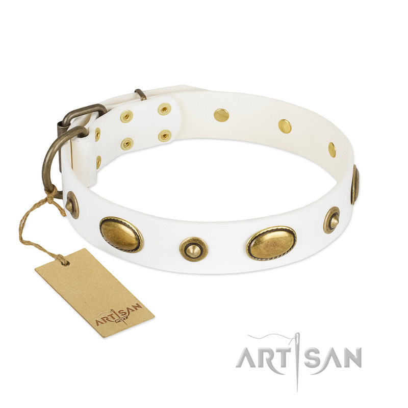 """Unmatched Whiteness"" White FDT Artisan Leather Riesenschnauzer Collar"