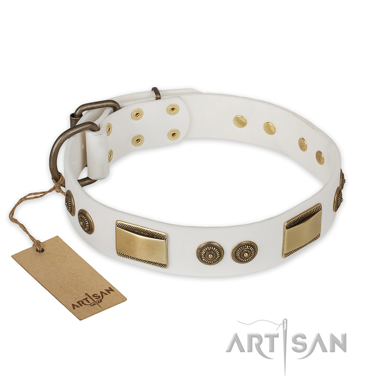 """Golden Avalanche"" FDT Artisan White Leather Riesenschnauzer Collar with Old Bronze Look Plates and Circles"