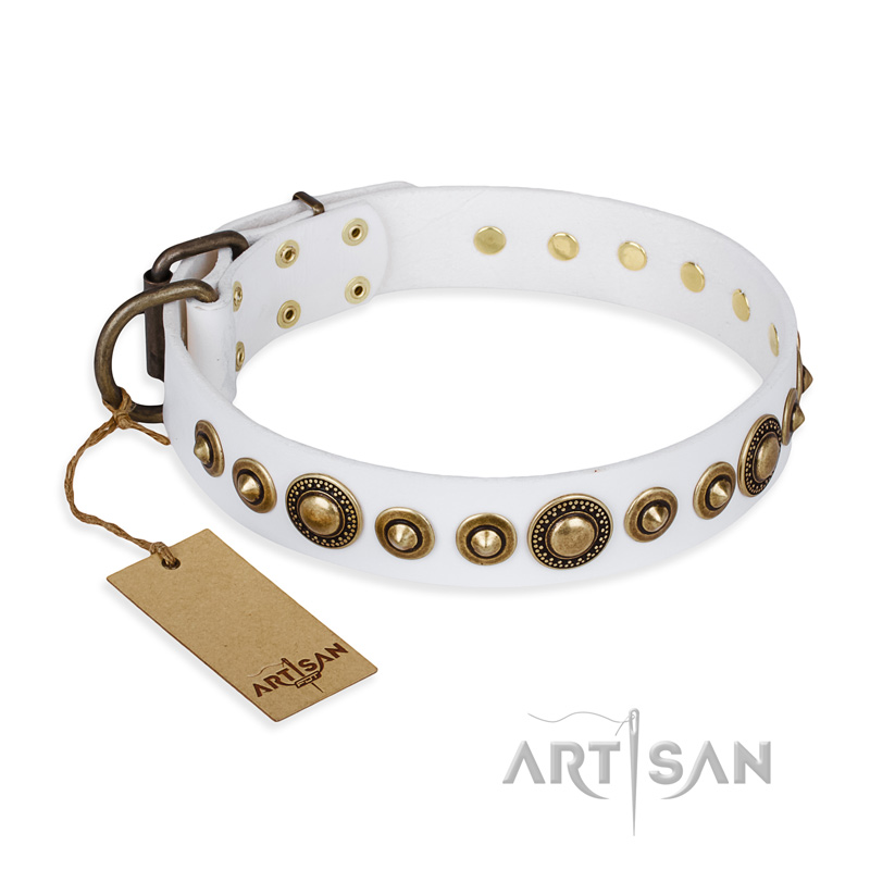"""Swirl of Fashion"" FDT Artisan Delicate White Leather Riesenschnauzer Collar with Stunning Bronze-Plated Round Studs"