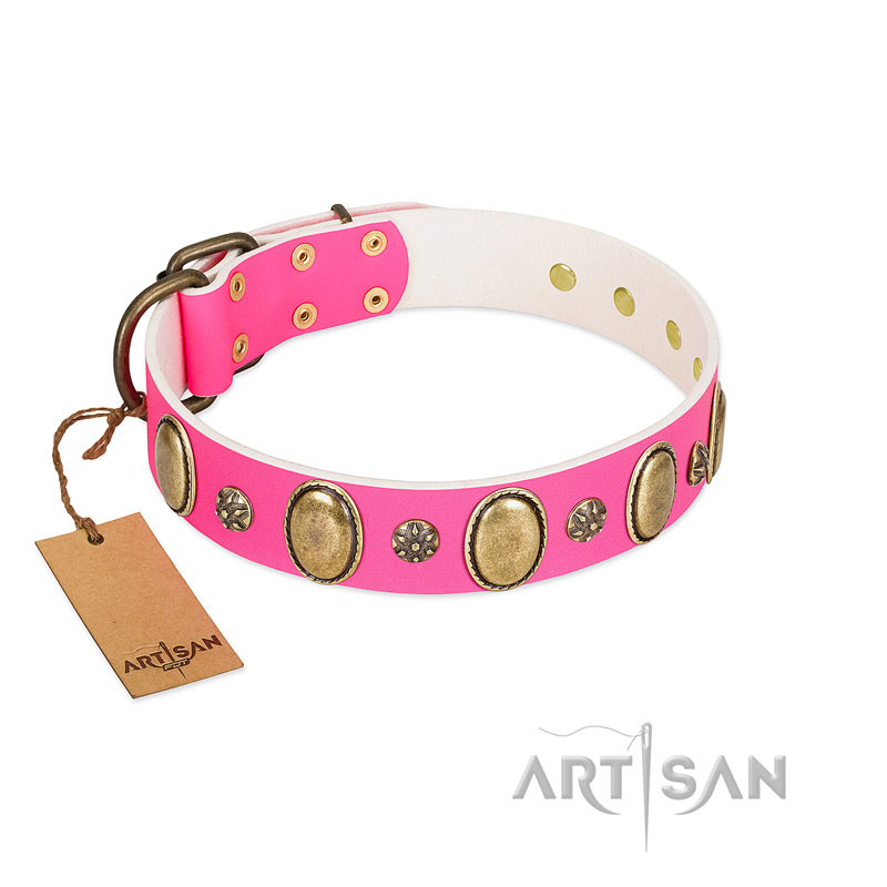 """Hotsie Totsie"" FDT Artisan Pink Leather Riesenschnauzer Collar with Ovals and Small Round Studs"