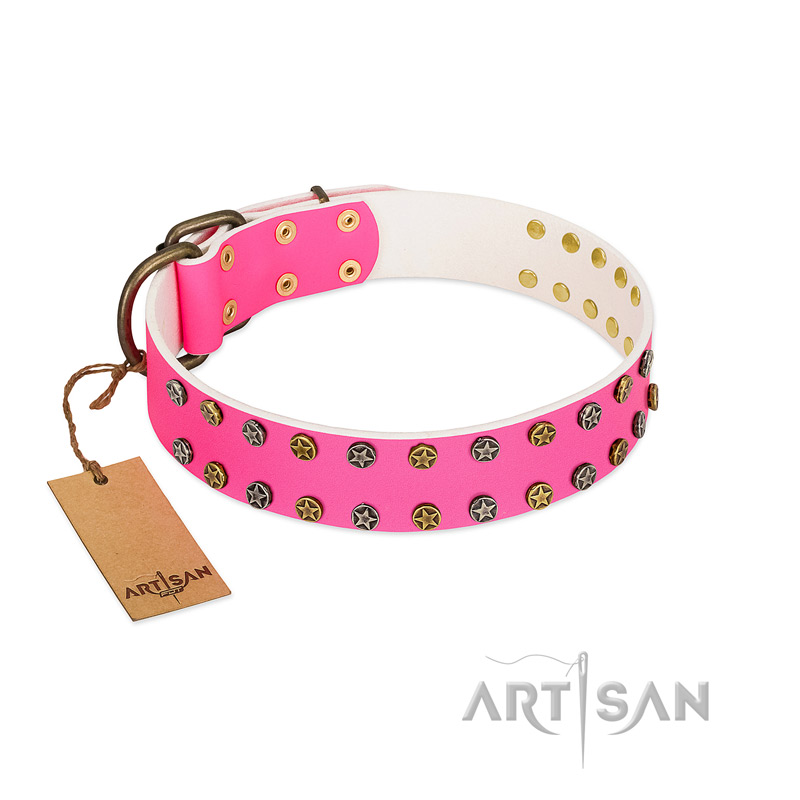 """Blushing Star"" FDT Artisan Pink Leather Riesenschnauzer Collar with Two Rows of Small Studs"