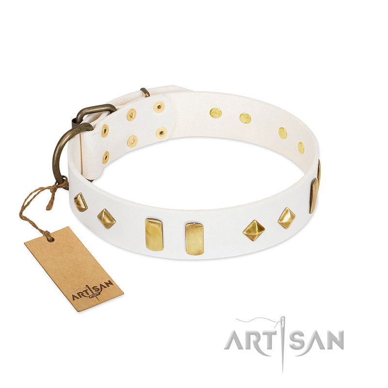 """Hella Cool"" FDT Artisan White Leather Riesenschnauzer Collar Adorned with Plates and Rhombs"