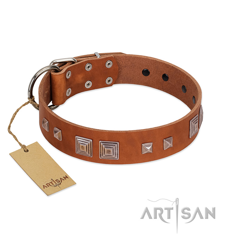 """Egyptian Gifts"" Handmade FDT Artisan Tan Leather Riesenschnauzer Collar with Chrome-plated Pyramids"