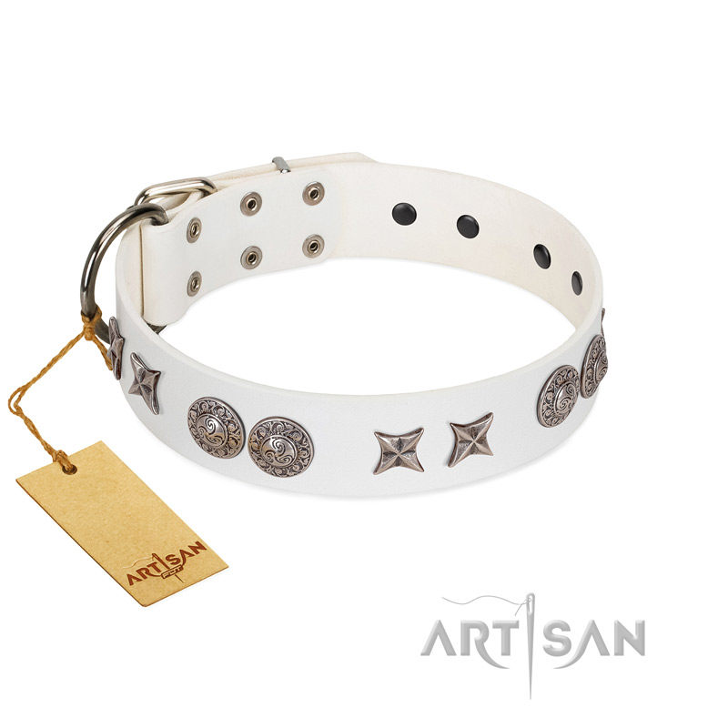 """Seventh Heavens"" FDT Artisan White Leather Riesenschnauzer Collar with Chrome-plated Stars and Engraved Brooches"