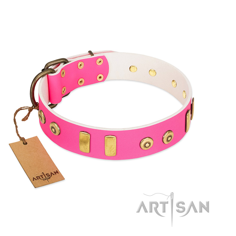 """Prim'N'Proper"" Handmade FDT Artisan Pink Leather Riesenschnauzer Collar with Old Bronze-like Dotted Studs and Tiles"