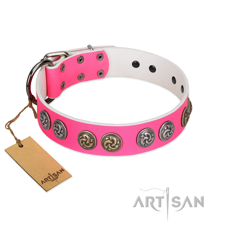 """Pink Butterfly"" Designer FDT Artisan Pink Leather Riesenschnauzer Collar with Round Studs"