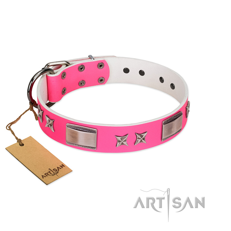 """Pinky Fantasy"" Pink FDT Artisan Leather Riesenschnauzer Collar with Chrome-plated Stars and Large Plates"