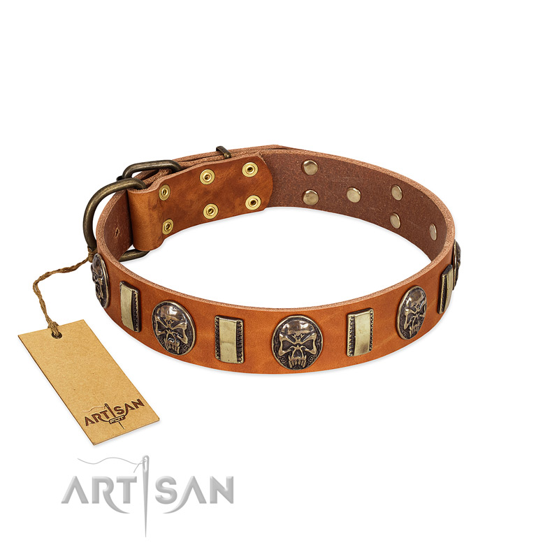 """Strike of Rock"" FDT Artisan Tan Leather Riesenschnauzer Collar with Plates and Medallions with Skulls"