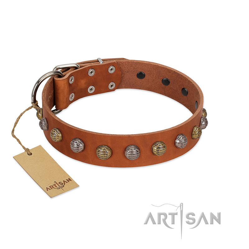 """Dogue-Vogue"" FDT Artisan Tan Leather Riesenschnauzer Collar with Engraved Chrome-plated Studs"
