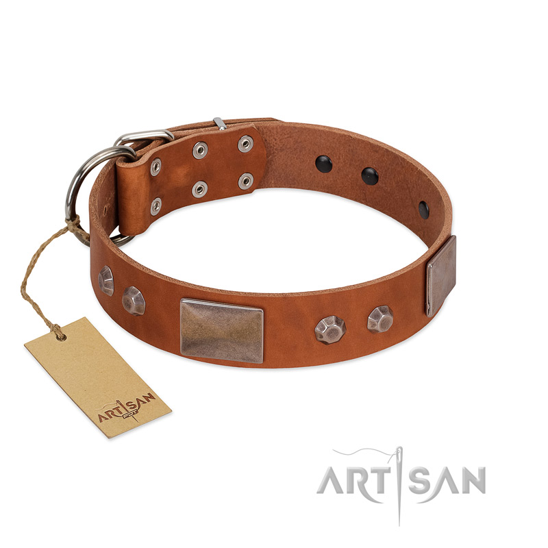 """Great Obelisk"" Handcrafted FDT Artisan Tan Leather Riesenschnauzer Collar with Large Plates and Pyramids"