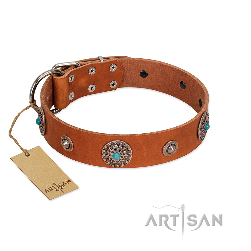 """Marine Antiques"" Handmade FDT Artisan Tan Leather Riesenschnauzer Collar with Blue Stones"
