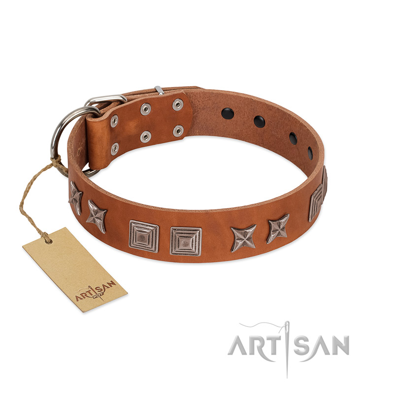 """Antique Figures"" FDT Artisan Tan Leather Riesenschnauzer Collar with Silver-like Engraved Plates"