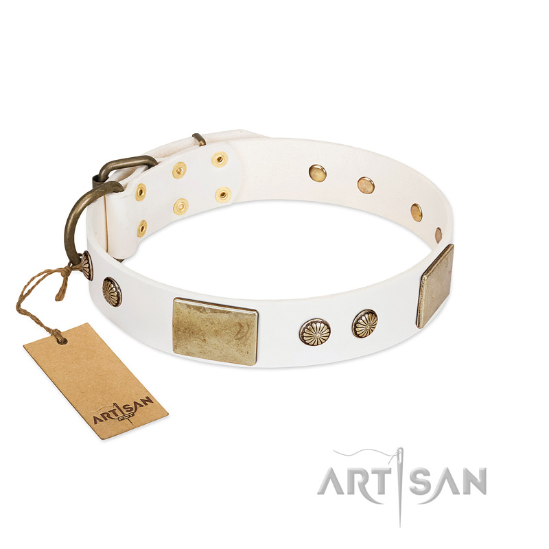 """Pure Elegance "" FDT Artisan White Decorated Leather Riesenschnauzer Collar - 1 1/2 inch (40 mm) wide"