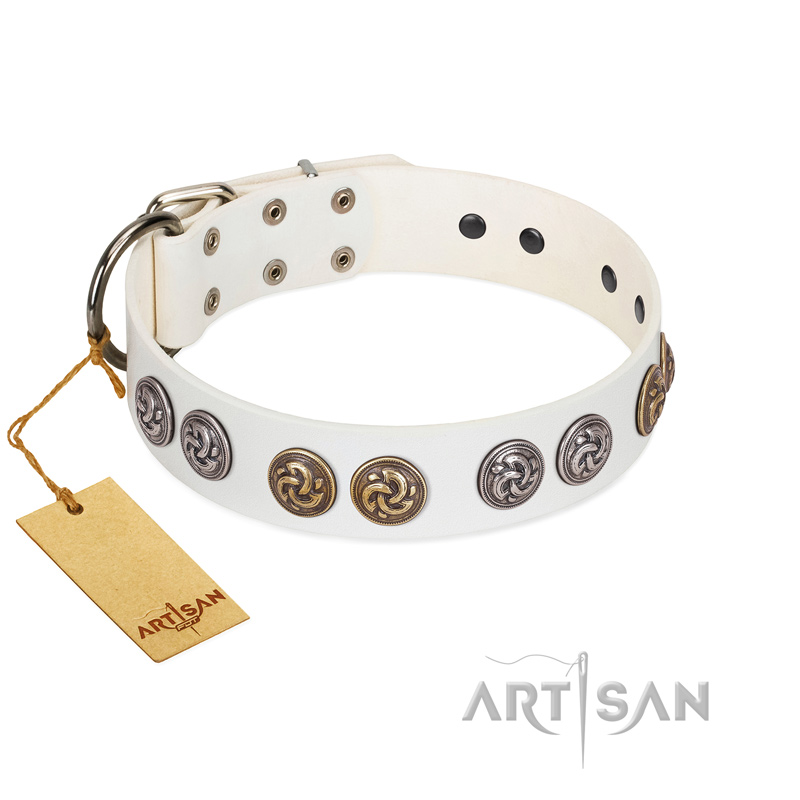 """White Moonlight"" FDT Artisan White Leather Riesenschnauzer Collar with Elegant Decorations"
