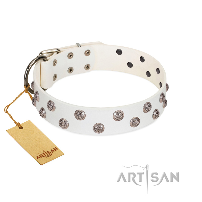 """Wild Flora"" FDT Artisan White Leather Riesenschnauzer Collar with Silver-like Engraved Studs"