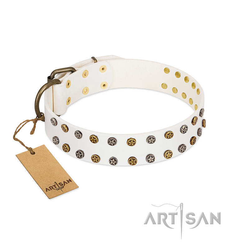 """Crystal Night"" FDT Artisan White Leather Riesenschnauzer Collar with Two Rows of Small Studs"