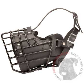 Leather Riesenschnauzer Muzzle Padded Metal Basket