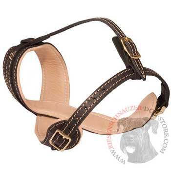 Riesenschnauzer Muzzle Leather Easy Adjustable with Quick Release Buckle