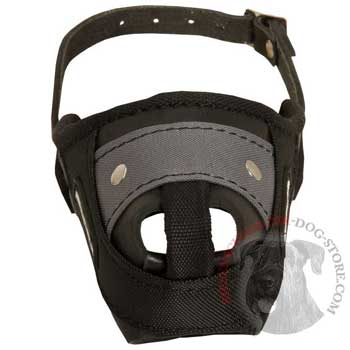 Nylon and Leather Riesenschnauzer Muzzle with Steel Bar for Protection Training